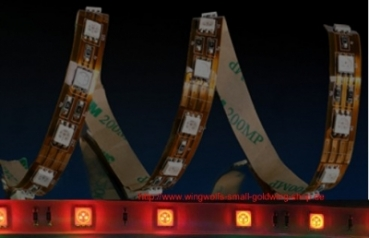 Rot, 5060 ,Wasserfest IP 65, -LED Strip,  Grundfarbe Gold, 30 Chips/mtr. 500 cm.