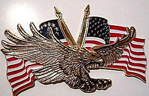 Gold Flying Eagle with USA Flag Emblem #91-6208G